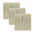 Trendi 1 Gang 2 Way Artistic Modern Glossy 10 Amp Rocker Light Switch Champagne Gold (3 Pack)